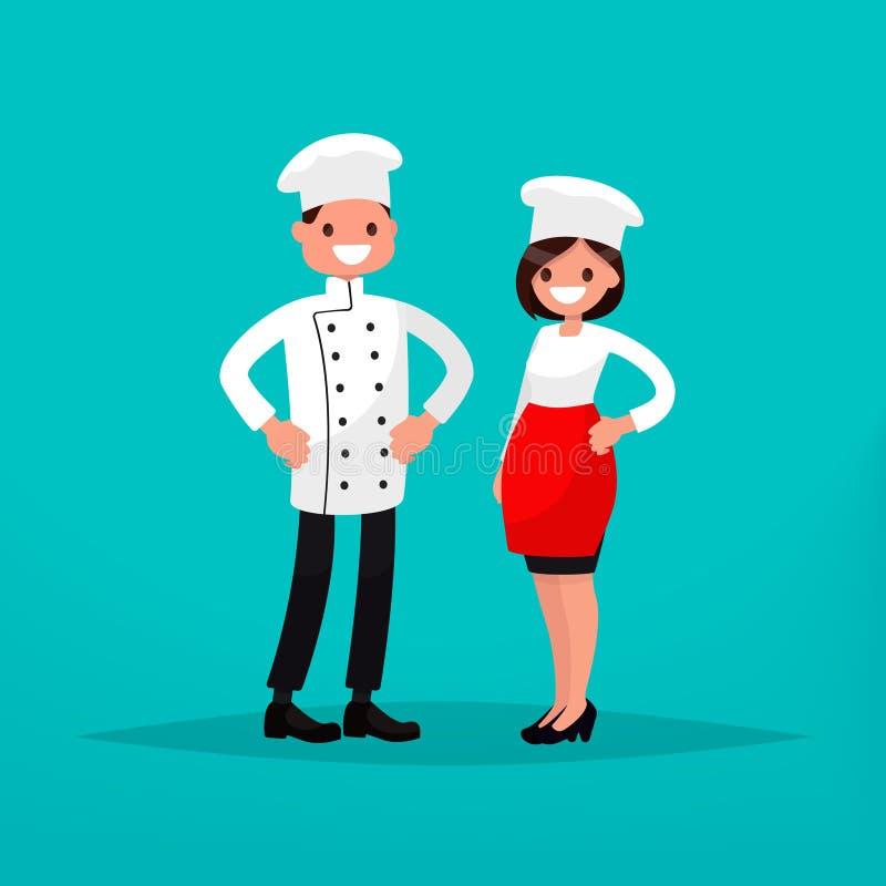 Szefa kuchni mężczyzna i kobieta kucharz również zwrócić corel ilustracji wektora royalty ilustracja