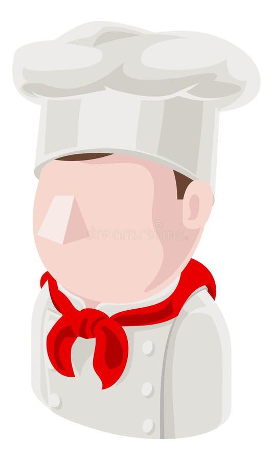 Szefa kuchni mężczyzny Avatar ikony ludzie ilustracji