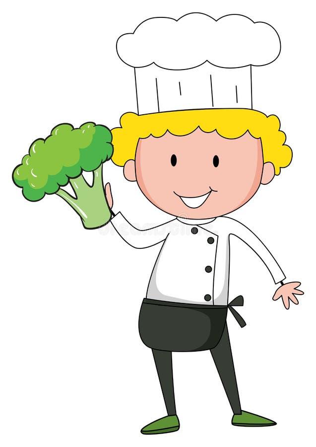 Szefa kuchni mienia brokuły w jeden ręce ilustracja wektor
