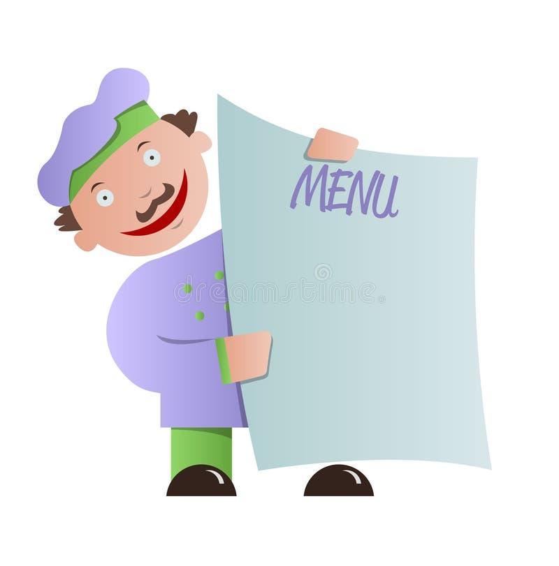 Szefa kuchni mienia pustego miejsca menu ilustracja wektor
