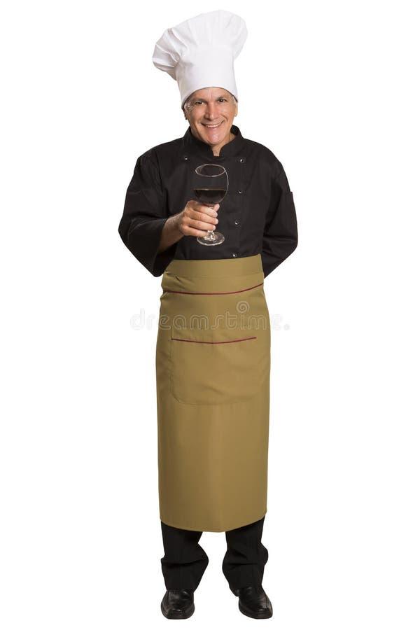 Szefa kuchni mienia wina szkło obraz stock