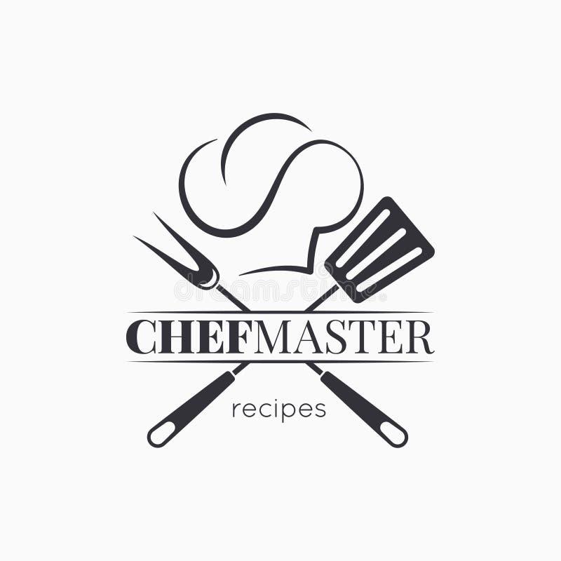 Szefa kuchni mistrzowski logo z szefa kuchni kapeluszem na białym tle royalty ilustracja