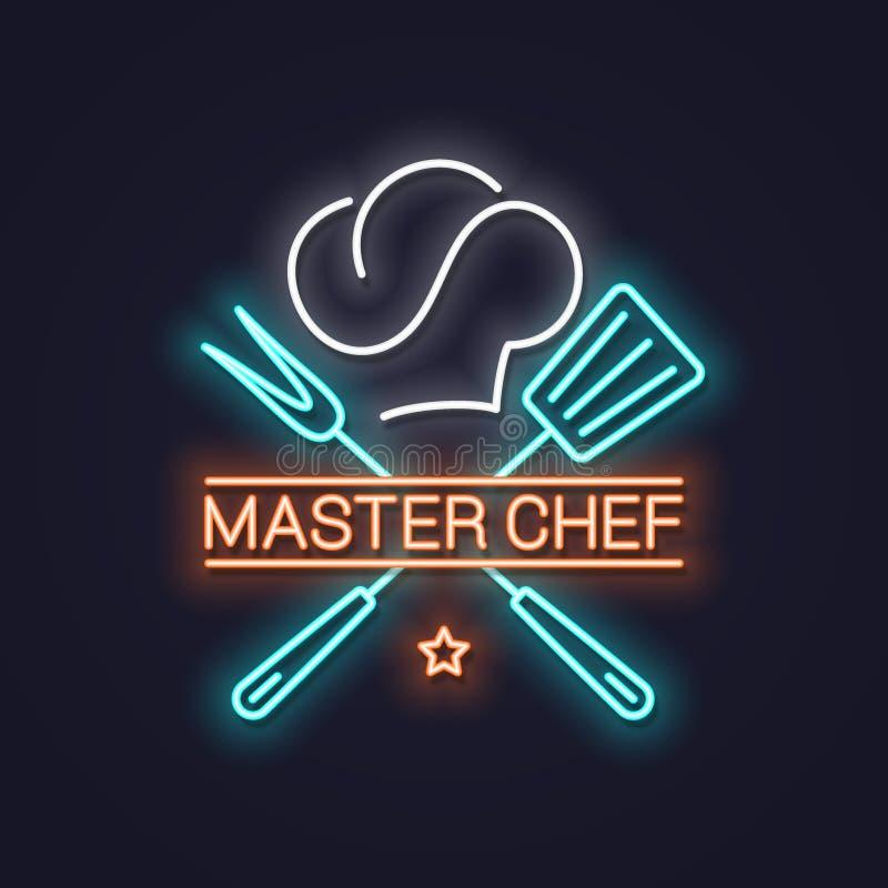 Szefa kuchni mistrzowski neonowy z szefa kuchni sztandaru kapeluszowym neonowym tłem ilustracja wektor