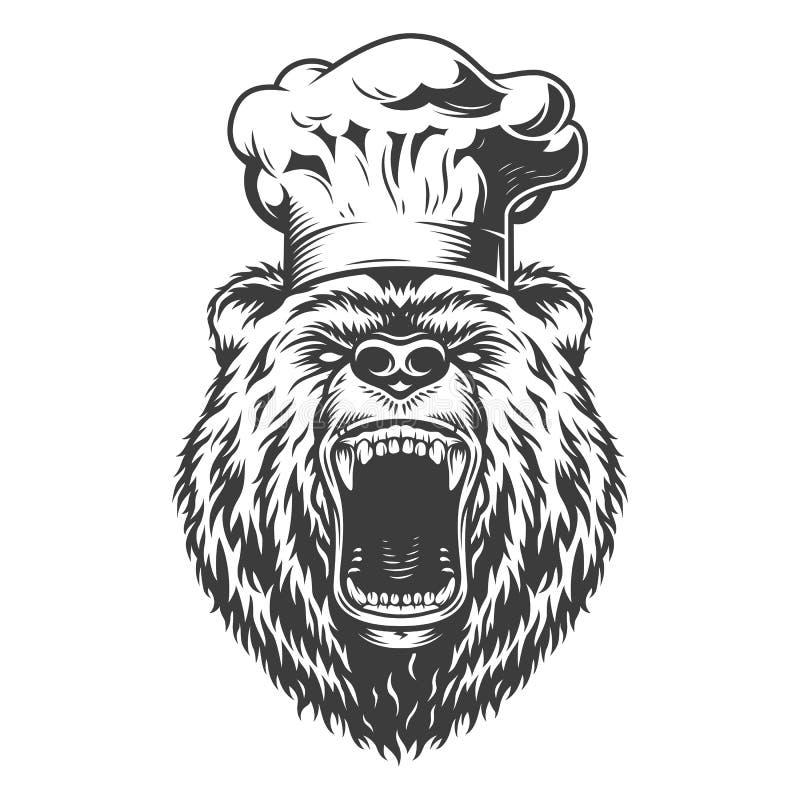 Szefa kuchni niedźwiedzia głowa w kucbarskim kapeluszu royalty ilustracja