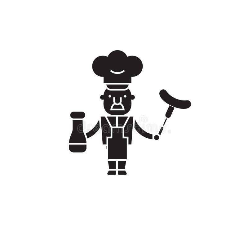 Szefa kuchni pojęcia kulinarna mięsna czarna wektorowa ikona Szef kuchni kulinarna mięsna płaska ilustracja, znak ilustracja wektor