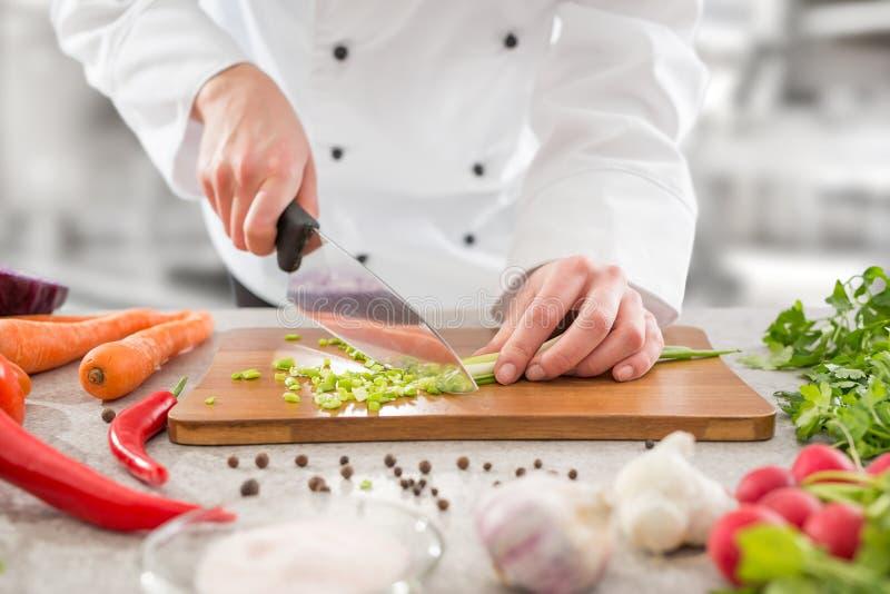 Szefa kuchni przecinania warzywa zdjęcie stock