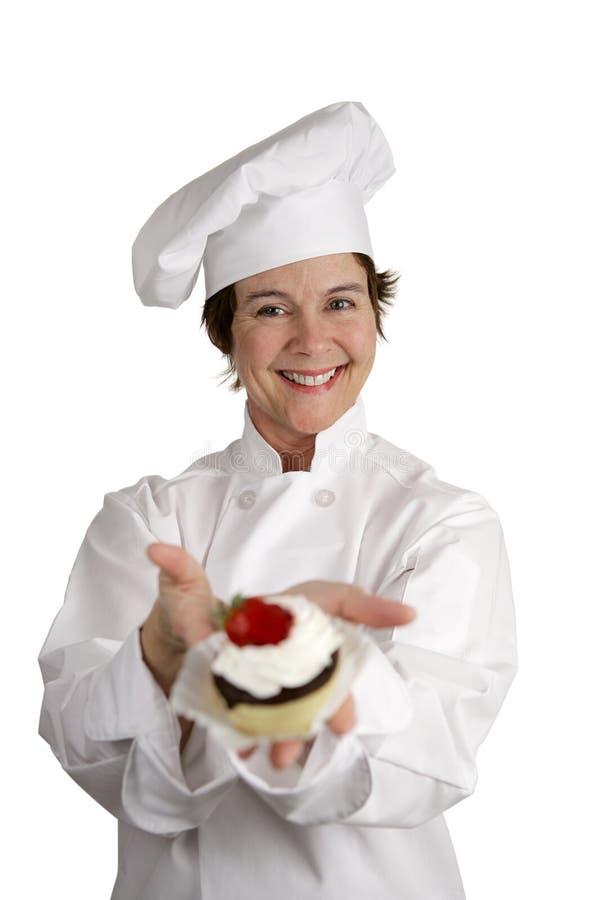 szefa kuchni radosny ciasta zdjęcie royalty free
