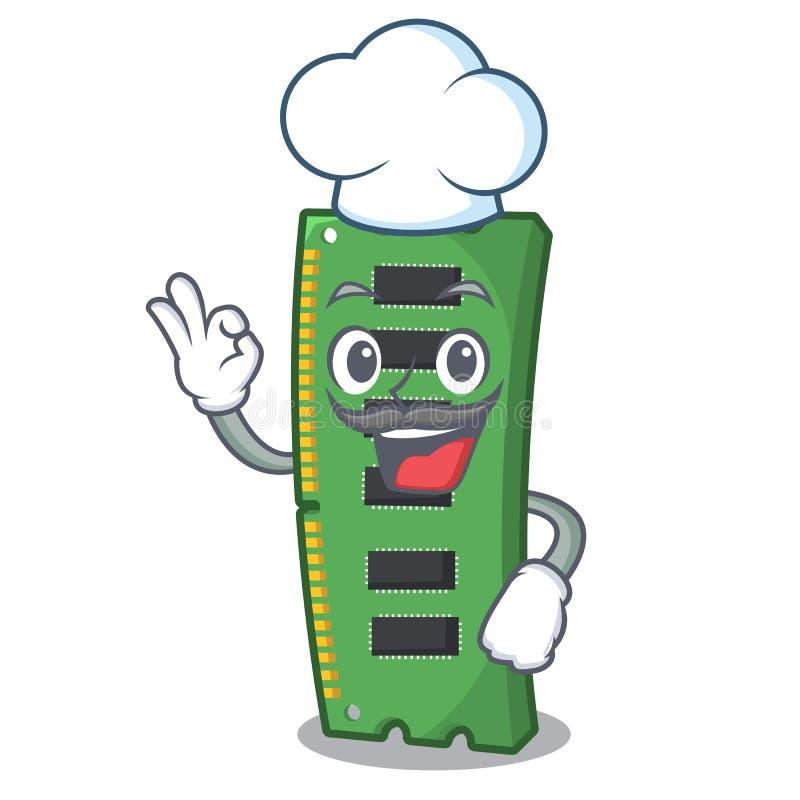 Szefa kuchni RAM karta pamięci maskotka kształt royalty ilustracja