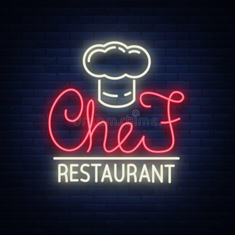 Szefa kuchni restauracyjny logo, znak, emblemat w neonowym stylu Rozjarzony signboard, śródnocny jaskrawy sztandar Rozjarzona rek ilustracja wektor
