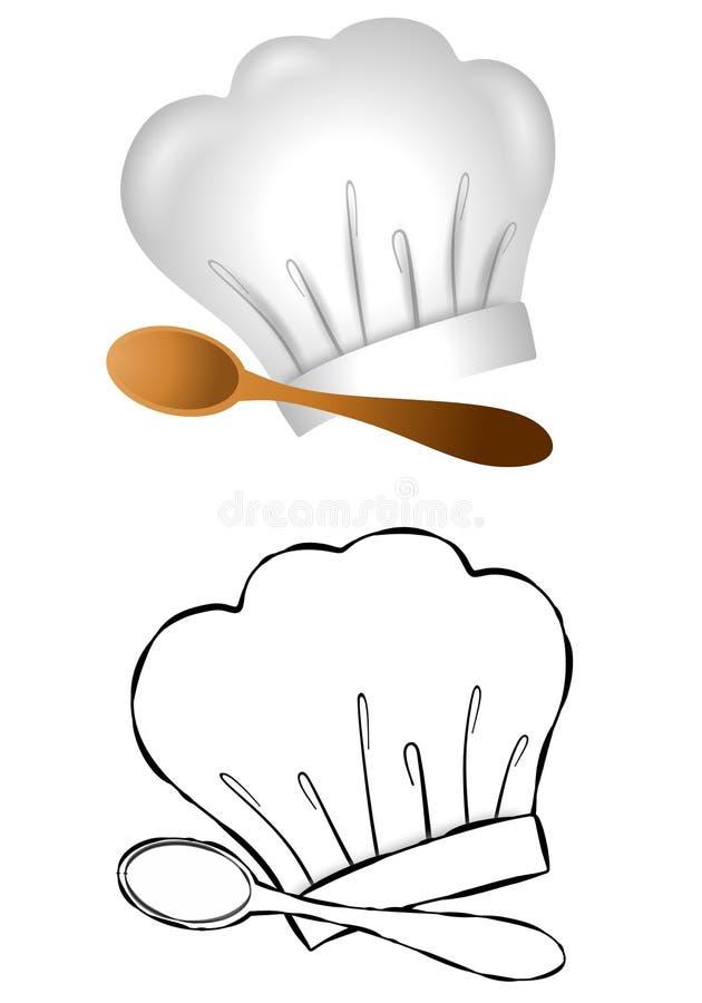 szefa kuchni s kapeluszowa łyżka ilustracji