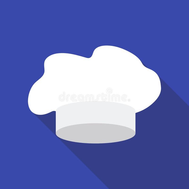 Szefa kuchni ` s Kapeluszowa ikona w mieszkanie stylu odizolowywającym na białym tle Kapeluszu symbolu zapasu wektoru ilustracja royalty ilustracja