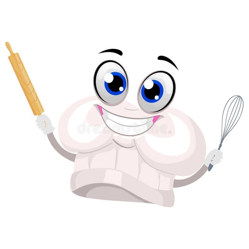 Szefa kuchni ` s maskotki mienia pieczenia Kapeluszowi narzędzia ilustracja wektor