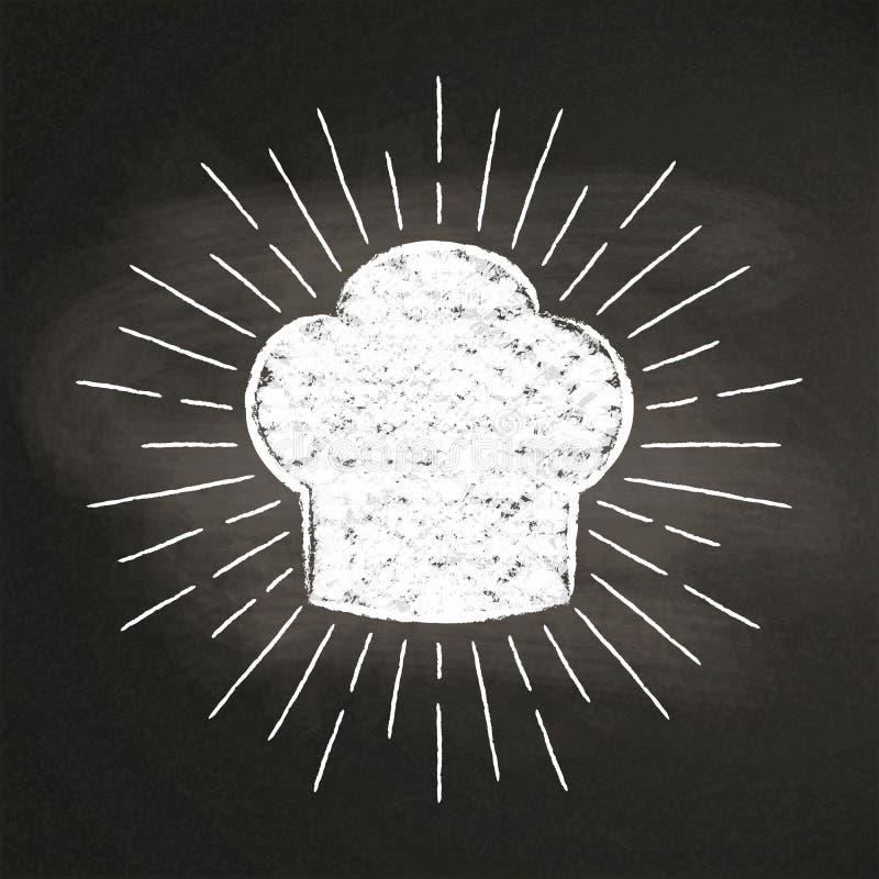 Szefa kuchni ` s toque kredy silhoutte z słońce promieniami na blackboard royalty ilustracja