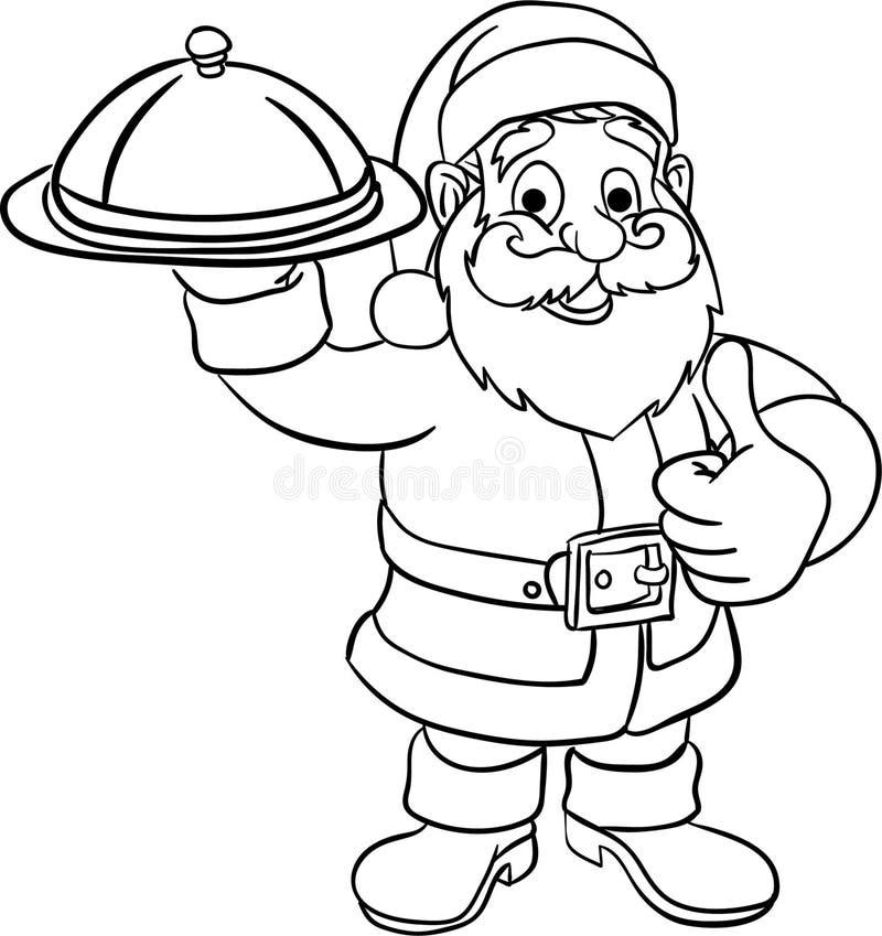 szefa kuchni Santa boże narodzenia barwi stronę dla dzieciaka royalty ilustracja