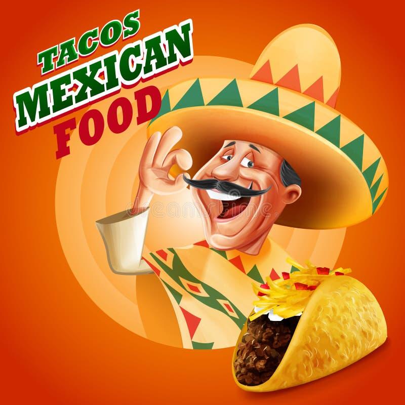 Szefa kuchni sztandaru meksykanin ilustracja wektor