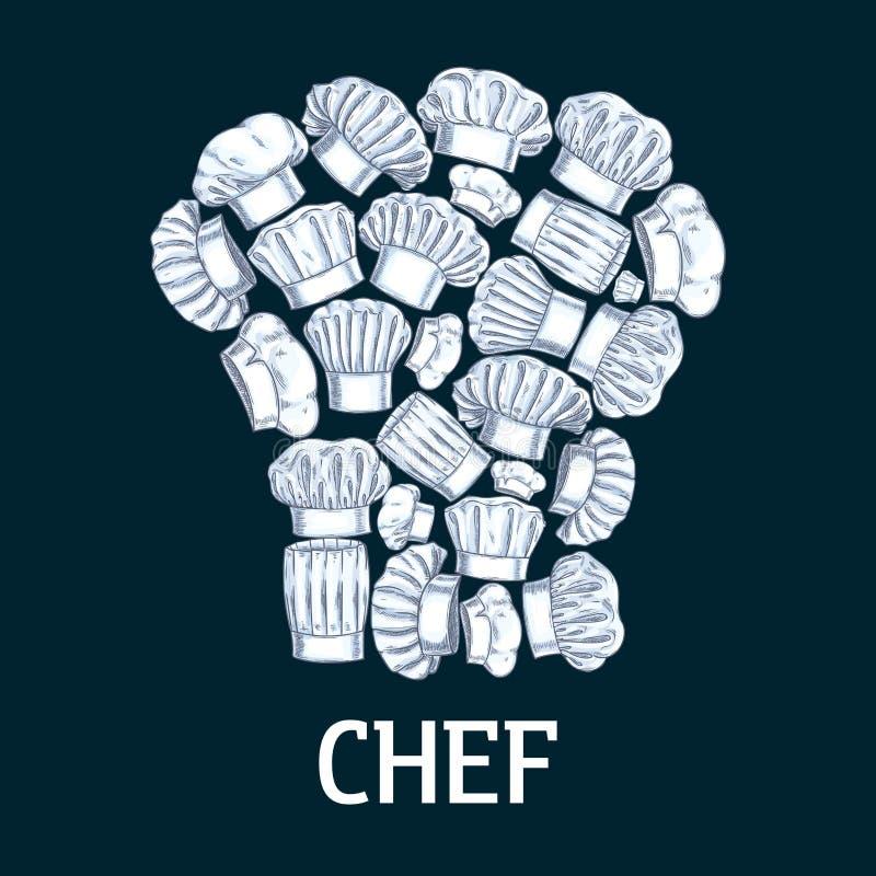 Szefa kuchni toque etykietka w kształcie kucbarscy kapelusze ilustracji