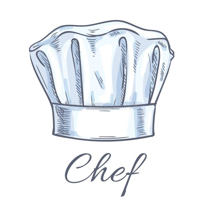 Szefa kuchni toque nakreślenia wektorowa ikona royalty ilustracja