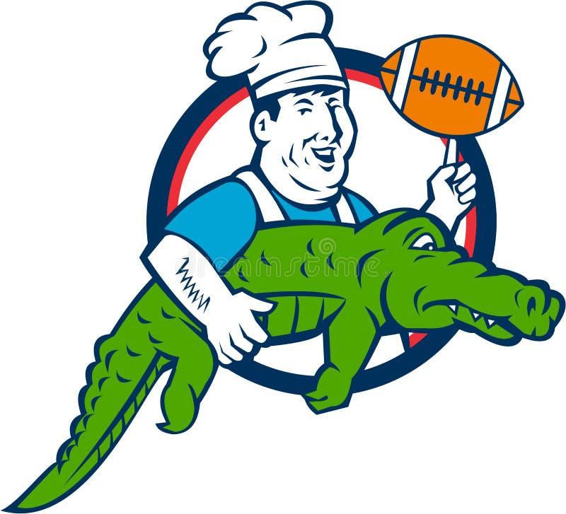 Szefa kuchni Twirling futbol Niesie aligatora okrąg Retro ilustracji