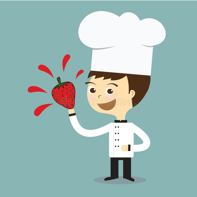 Szefa kuchni uśmiech i trzymać świeżego truskawkowego wektor royalty ilustracja