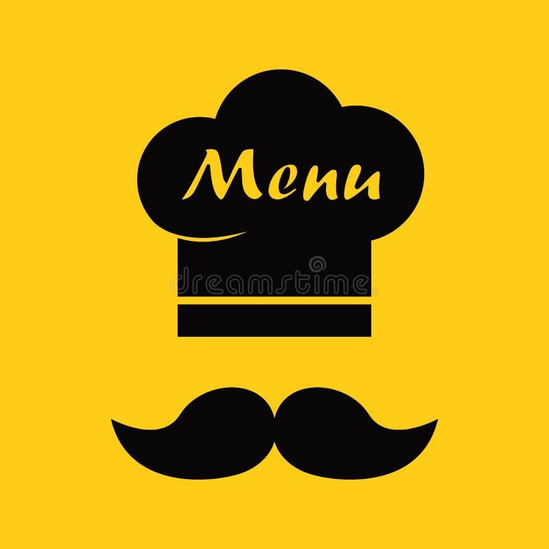Szefa kuchni wąsy i kapelusz Menu ikona również zwrócić corel ilustracji wektora royalty ilustracja