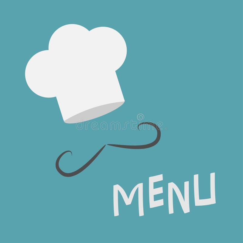 Szefa kuchni wąsy i kapelusz Menu karta Skarbikowani wąsy Restauracja mundur Płaski projekta materiału styl niebieska tła royalty ilustracja