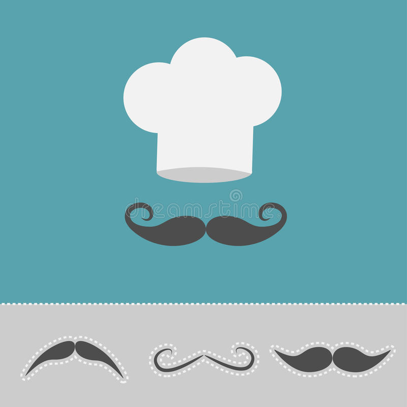 Szefa kuchni wąsy i kapeluszu set Menu karta Płaski projekta styl royalty ilustracja