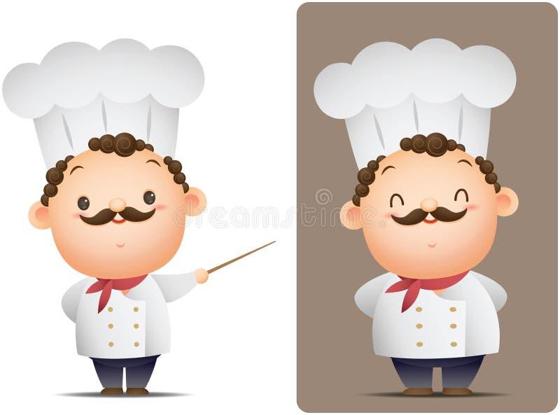 Szefa kuchni wskazywać i pozycja royalty ilustracja