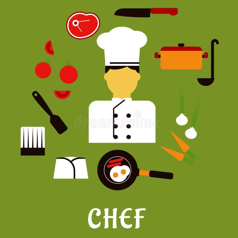 Szefa kuchni zawód z kuchennego materiału ikonami ilustracji