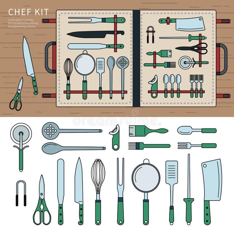 Szefa kuchni zestaw na stole ilustracji