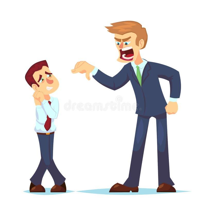 Szefa mężczyzna charakter krzyczy na pracowniku Wektorowej płaskiej kreskówki ilustracyjny Gniewny biznesmen krzyczy przy pracown ilustracja wektor