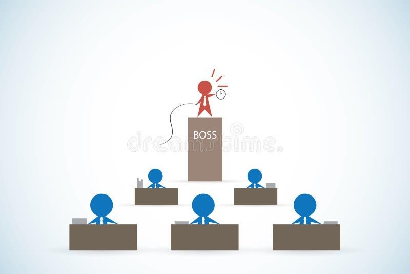 Szefa mienia bat i zegar kontrolować pracownika pracować przed ostatecznym terminem, przywódctwo i biznesowym pojęciem, ilustracji
