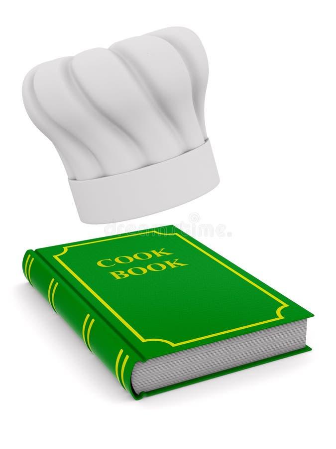 Szefowie kuchni kapelusz i kucharz rezerwują na białym tle Odosobniony 3d illustr ilustracja wektor