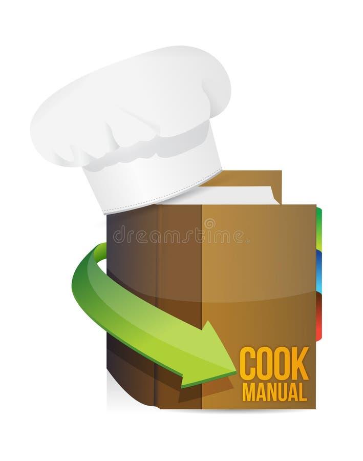Szefowie kuchni kapelusze i kucharza książkowy manuał ilustracja wektor