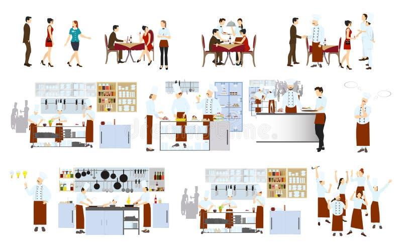 Szefowie kuchni na kuchni ilustracja wektor