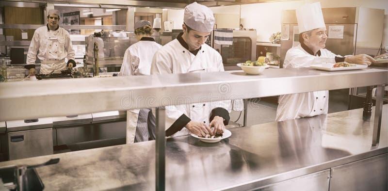 Szefowie kuchni pracuje w fachowej kuchni zdjęcia stock