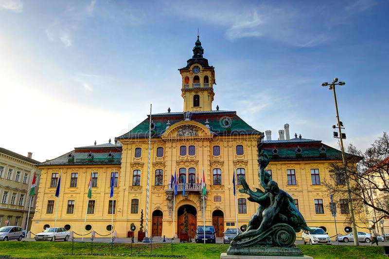 Szeged, Hungary. The city hall of Szeged, Hungary was built in a neo-baroque style in 1799 stock images