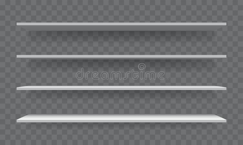 Szelfowego bielu pusty 3D realistyczny wektorowy półka na książki ilustracja wektor