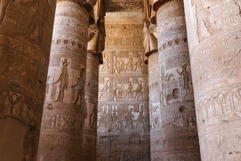 Szene in Denderah-Tempel, Qena, Ägypten lizenzfreies stockbild