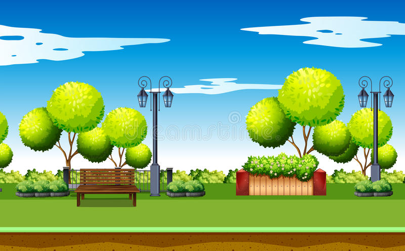 Szene des allgemeinen Parks mit Bank und Lampen vektor abbildung