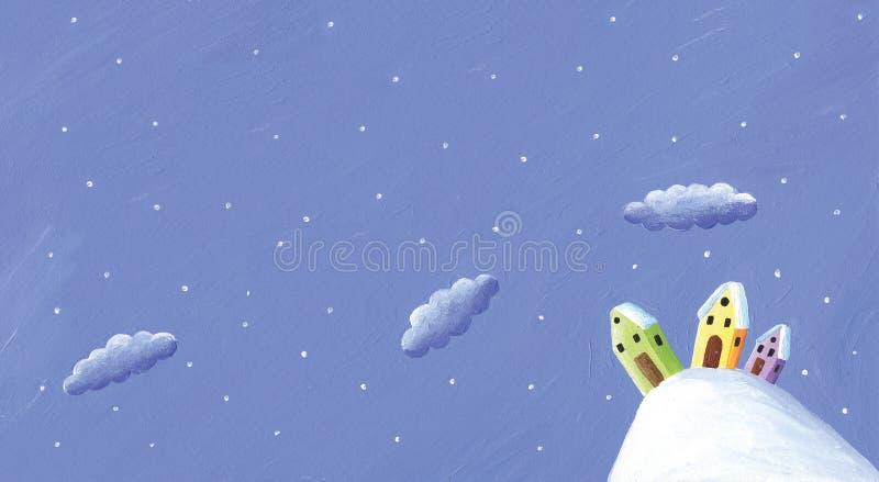 Szene des verschneiten Winters in der Landschaft - bunte H?user auf dem H?gel N?chtlicher Himmel mit Wolken stock abbildung