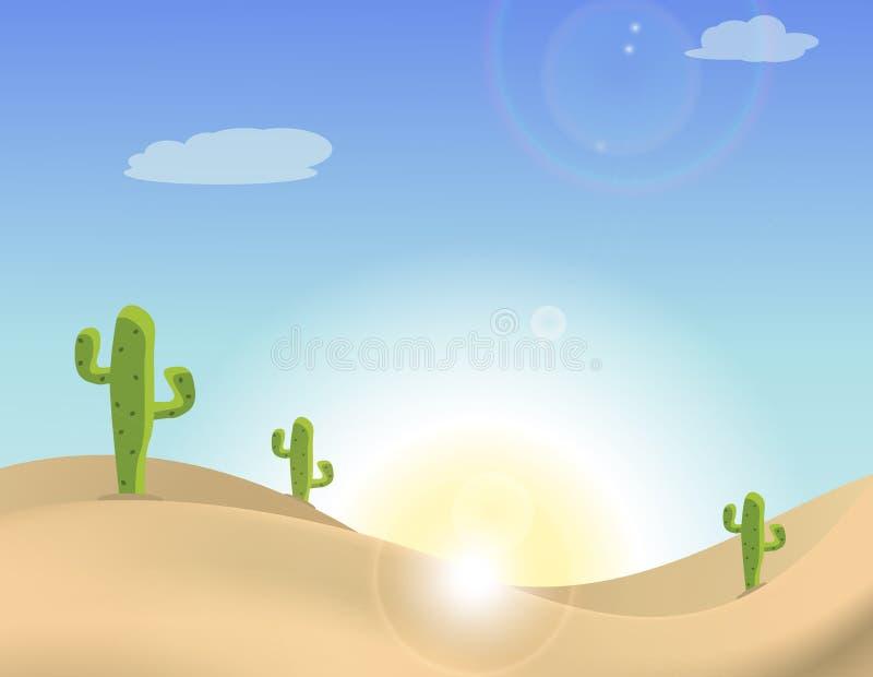 Szene eines Kaktus in der Wüste lizenzfreie abbildung