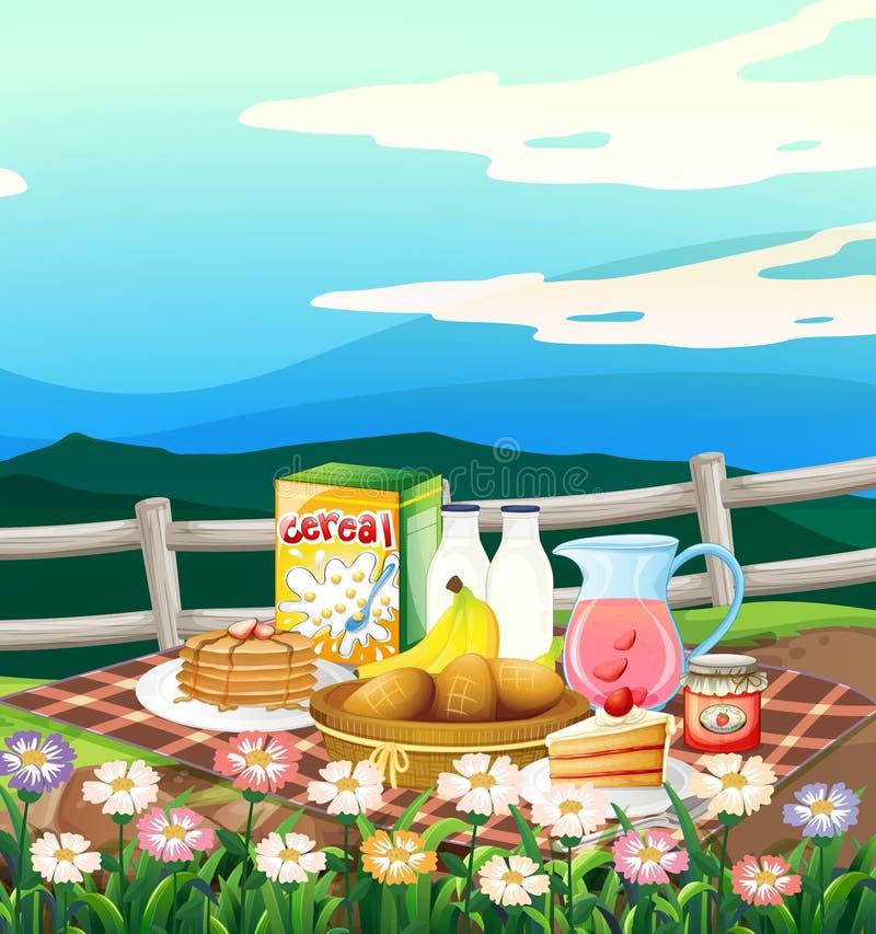 Szene mit dem Frühstück eingestellt auf Picknickstoff lizenzfreie abbildung