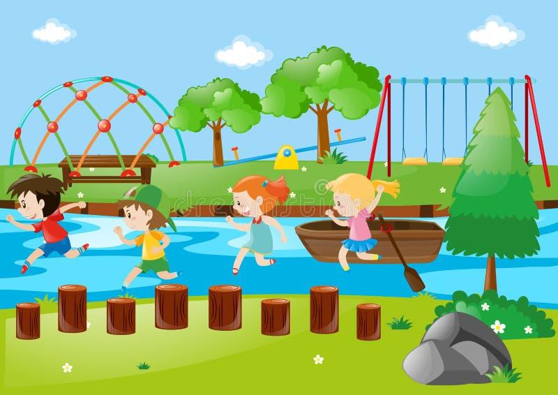 Szene mit den Kindern, die in Park laufen lizenzfreie abbildung