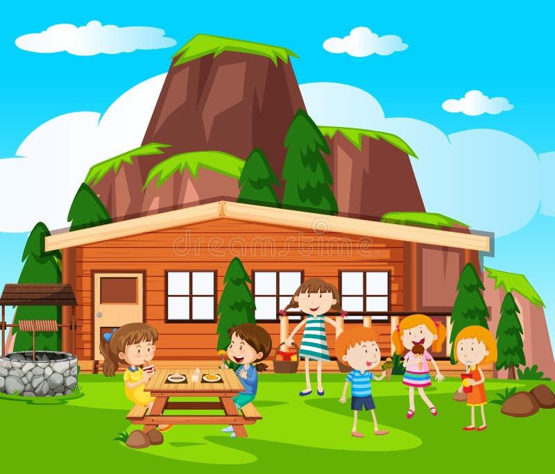 Szene mit den Kindern, die Picknick durch das Häuschen haben vektor abbildung