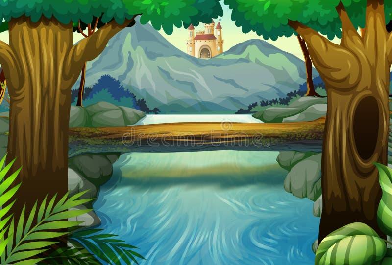 Szene mit Fluss im Wald lizenzfreie abbildung