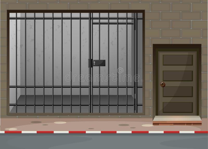 Szene mit Gefängnisraum am Gebäude vektor abbildung