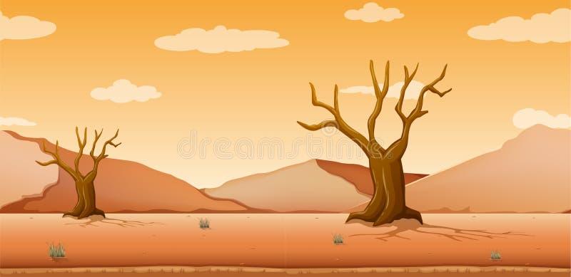 Szene mit getrockneten Bäumen auf dem Wüstengebiet lizenzfreie abbildung
