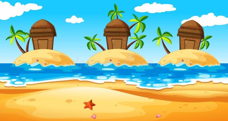 Szene mit Hütten auf Insel stock abbildung
