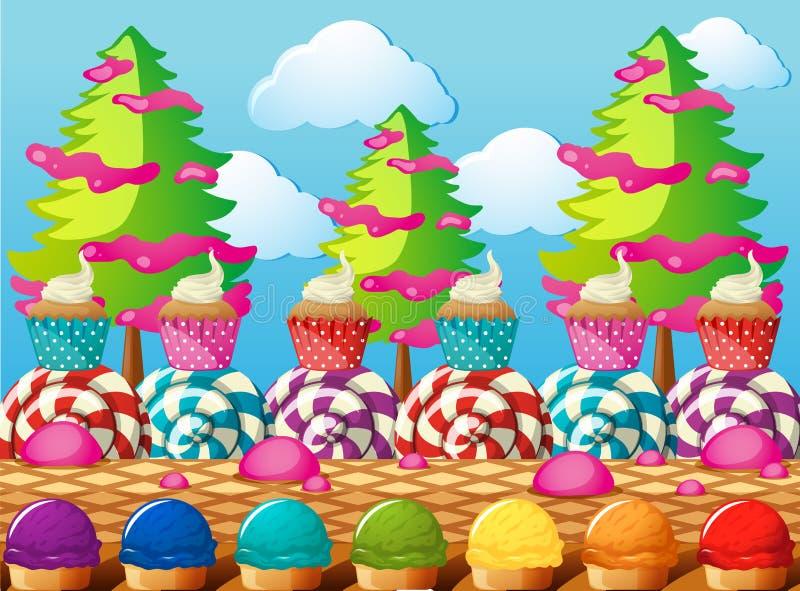 Szene mit kleinen Kuchen und Eiscreme auf dem Gebiet stock abbildung