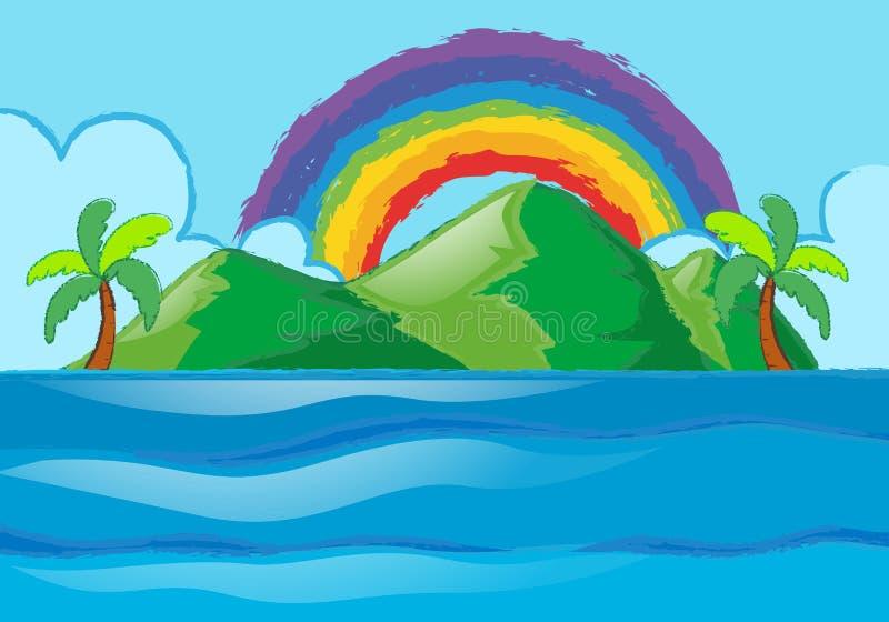 Szene mit Regenbogen über der Insel stock abbildung